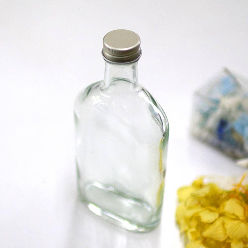 ハーバリウム作成用  200ml ガラス ウイスキー瓶  アルミキャップ付き