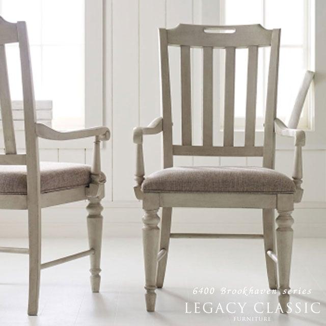 チェア アンティーク調 木製 フレンチ カントリー おしゃれ かわいい 白 ホワイト 椅子 いす ダイニングチェア 肘付き 布 布地 ダイニングセット ダイニングテーブル テーブル 食卓 ダイニング カフェ アームチェア Brookhaven 6400-141KD Legacy