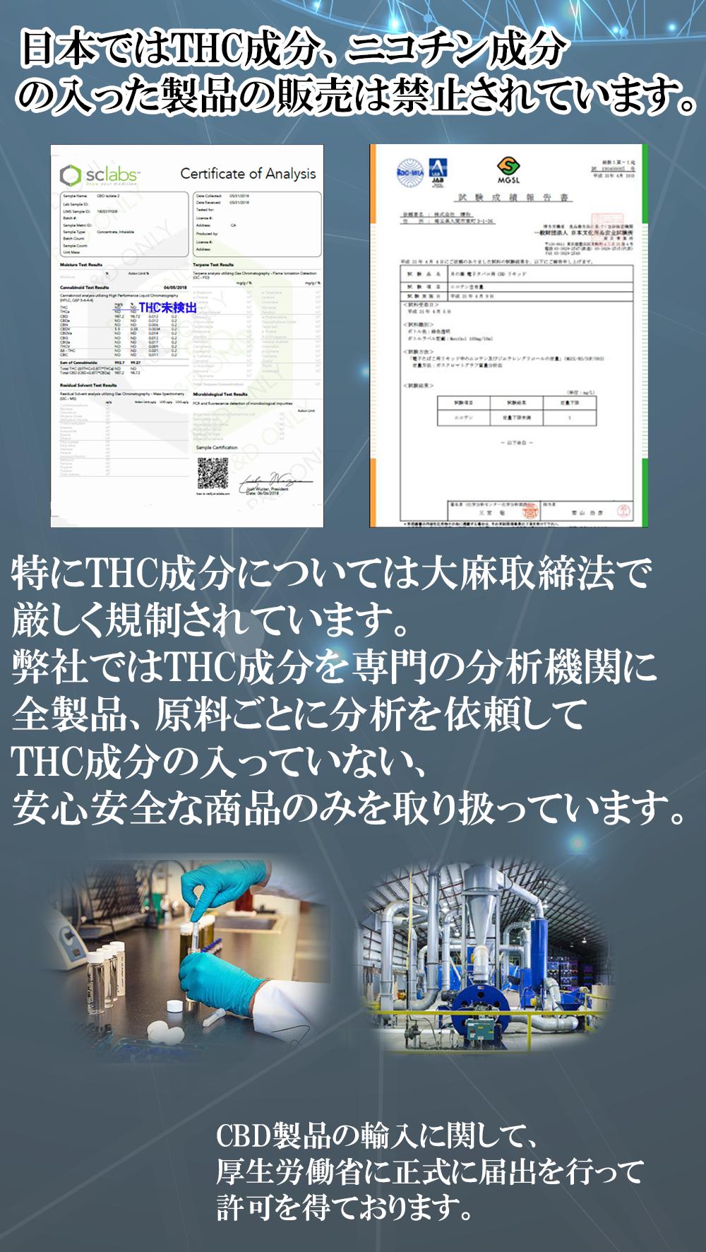THC成分を専門の分析機関に全製品、原料ごとに分析を依頼してTHC成分の入っていない、安心安全な商品のみを取り扱っています。