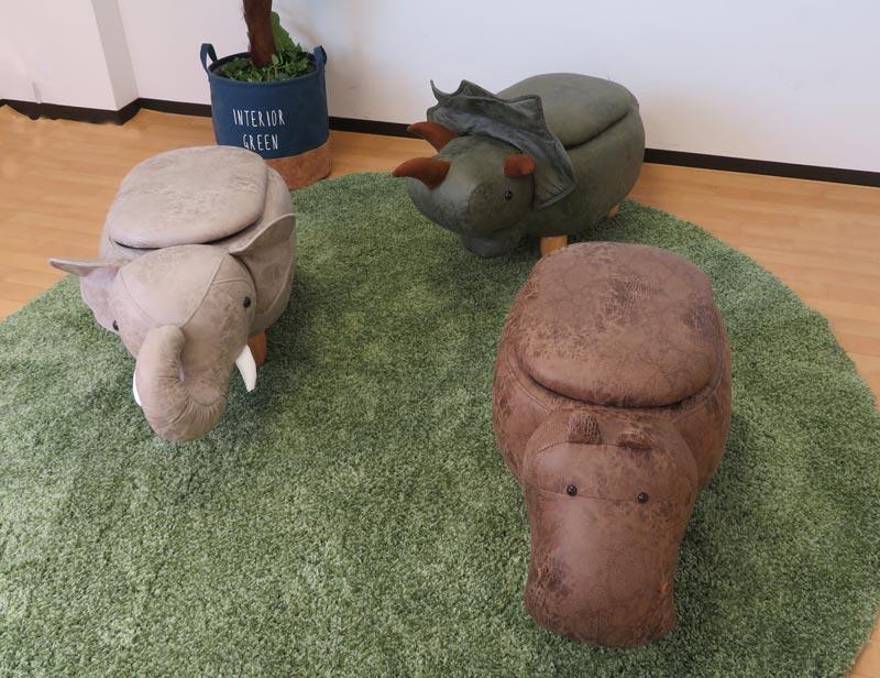 人気の恐竜・ゾウ・カバ