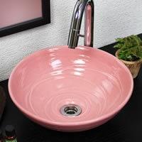 ピンク色手洗い鉢