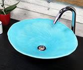 トルコブルー 小判型 手洗い鉢