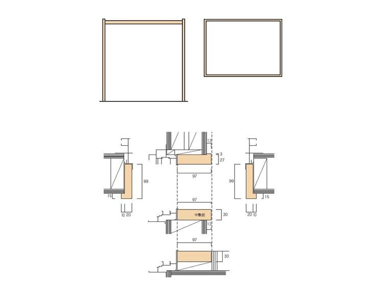 2×4和室用のサッシ無目枠(掃出/中窓)