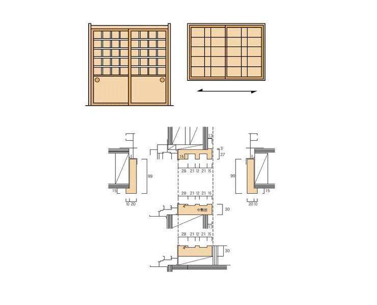 2×4和室用のサッシ内障子枠(掃出/中窓)