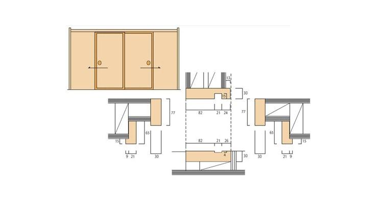 2×4和室用の和〜洋 片引枠