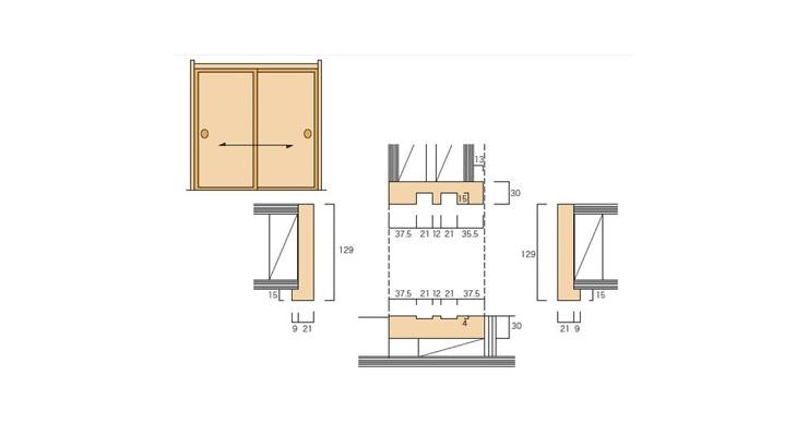 2×4和室用の和〜洋 引違枠(2本引)