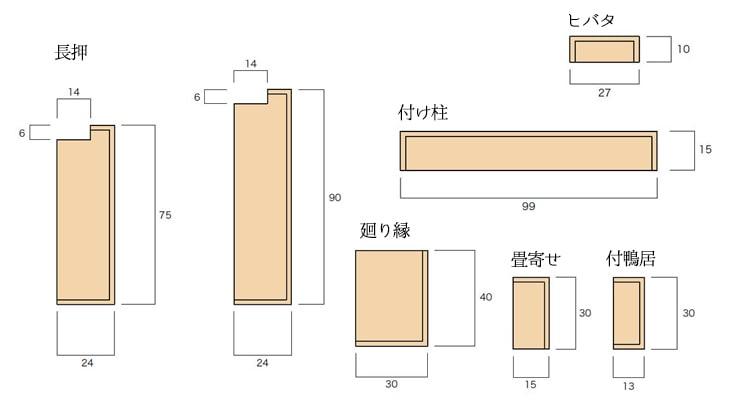 2×4和室用の単品部材