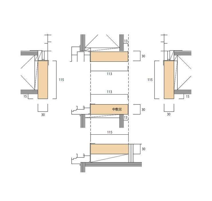 大壁和室用のサッシ無目枠(掃出/中窓)