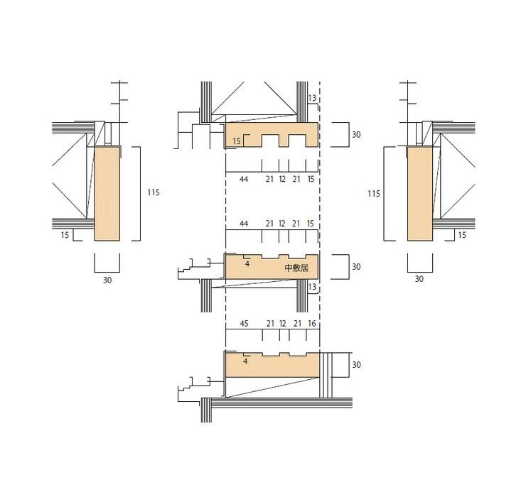 大壁和室用のサッシ内障子枠(掃出/中窓)