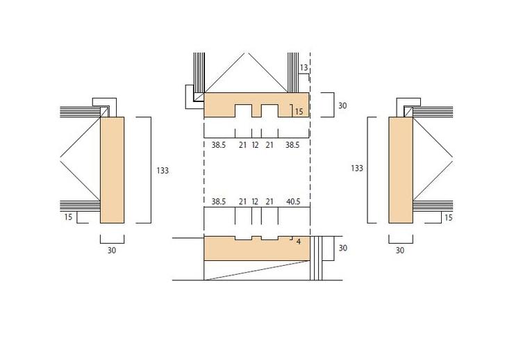 大壁和室用の和〜洋 引違枠(2本引)