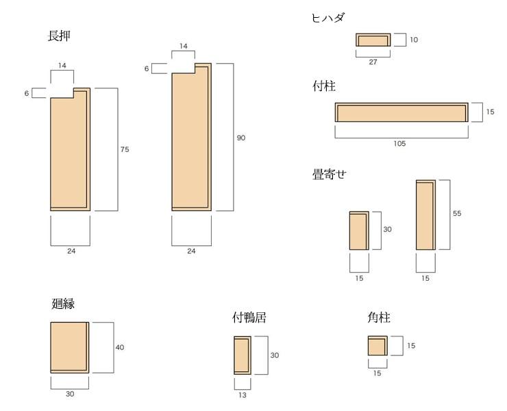 大壁和室用の単品部材