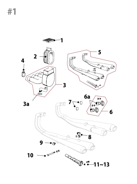 Kawasaki Z1/Z2エアクリーナー/マフラー