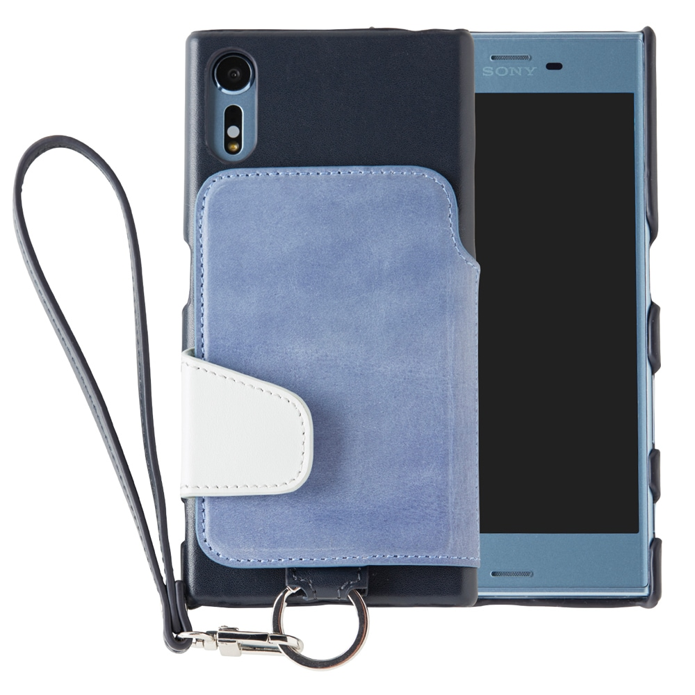 RAKUNI Leather Case with Strap for Xperia XZ / XZs チョークブルー RAK-XpXZs-ckb