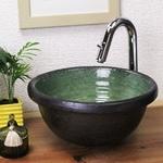 緑ガラス 手洗い鉢