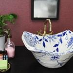 絵付き角型 手洗い鉢