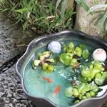 12号緑釉ハケメ水鉢