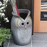 茶フクロウ彫つぼ型