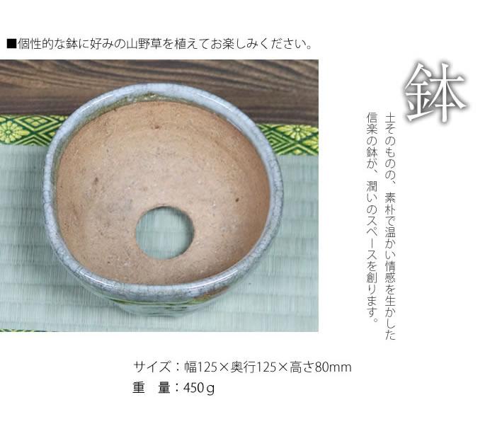 山草鉢 山野草鉢作家 奥田康人作 信楽焼き植木鉢 手づくり山草鉢 高級 鉢