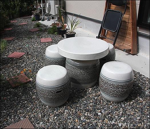 20号白松皮テーブルセット