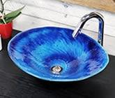 藍の色 小判型 手洗い鉢