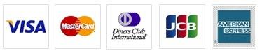 「VISA」「MasterCard」「Diners Club」「JCB」「AMEX」がご利用いただけます。