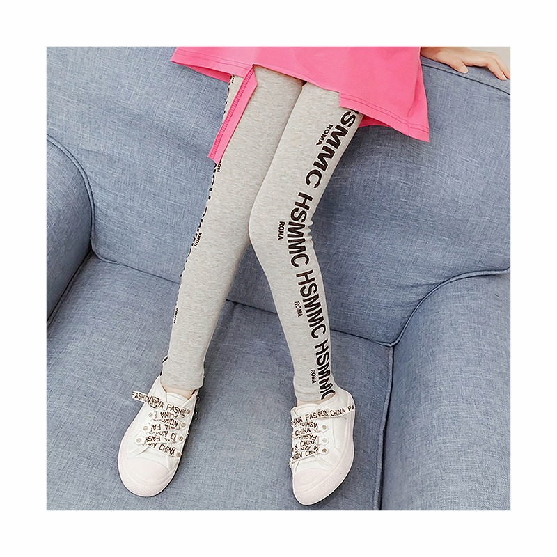 キッズダンス衣装のサイドロゴのレギンス、パンツ