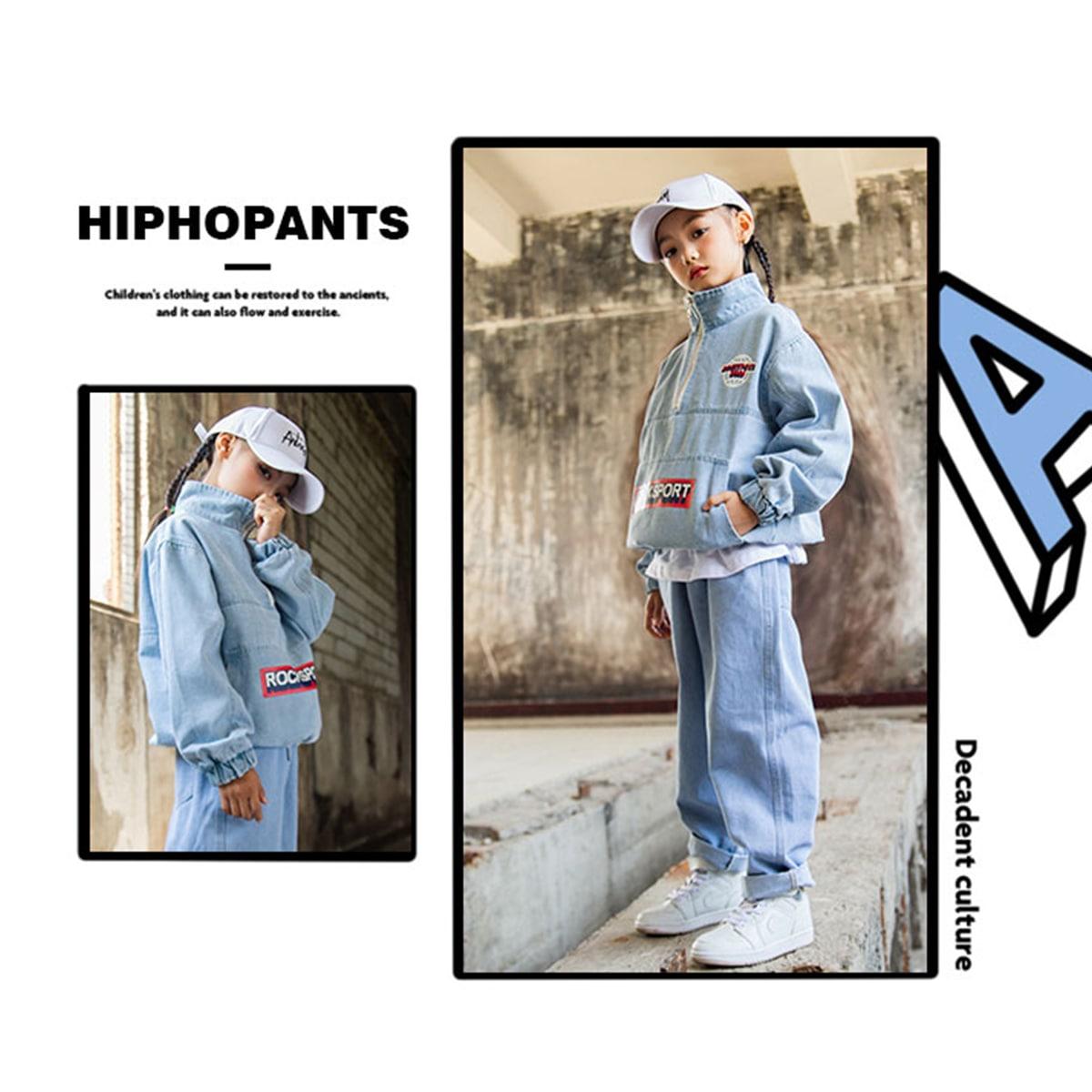デニム セットアップ 男の子 女の子 ヒップホップ キッズダンス衣装 女の子イメージ