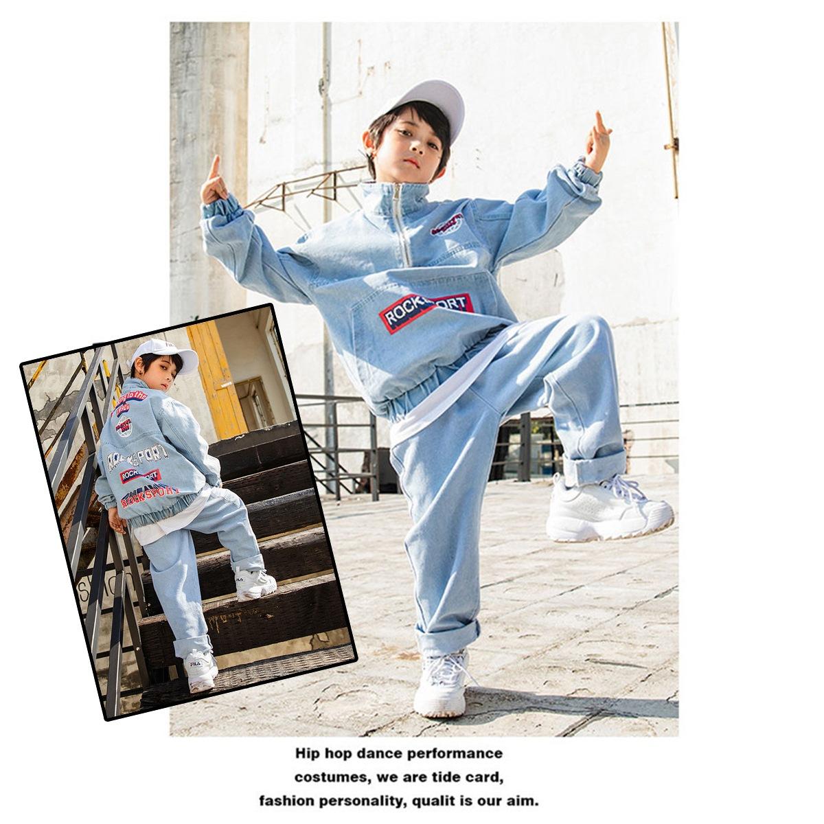 デニム セットアップ 男の子 女の子 ヒップホップ キッズダンス衣装 男の子イメージ