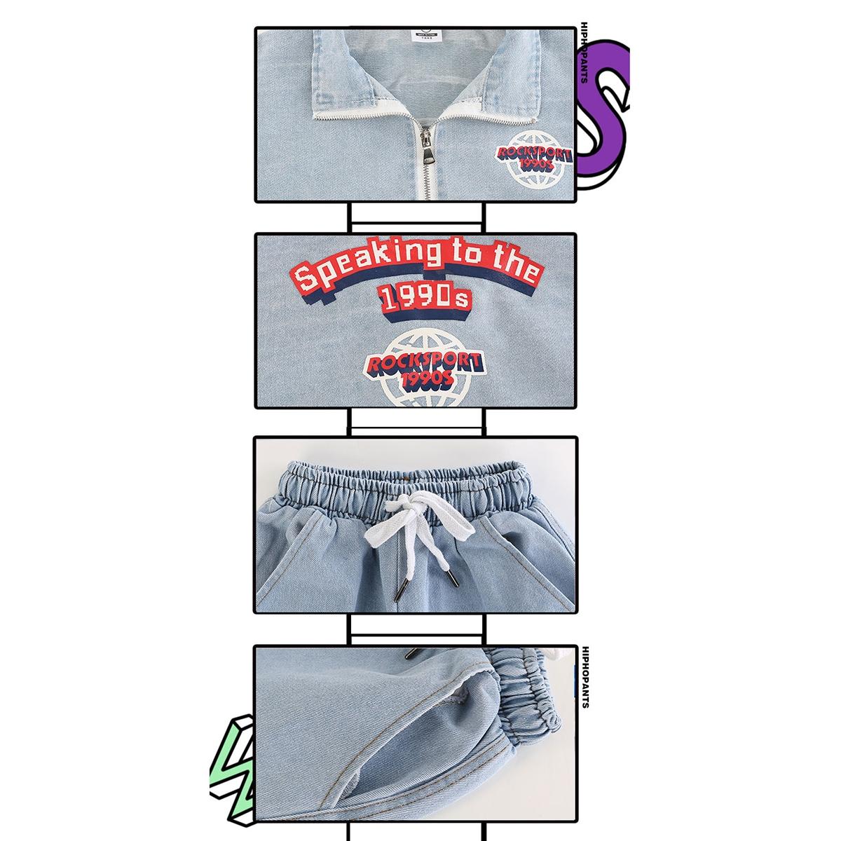 デニム セットアップ 男の子 女の子 ヒップホップ キッズダンス衣装 襟・ロゴ・ウエスト・ポケット部分アップ