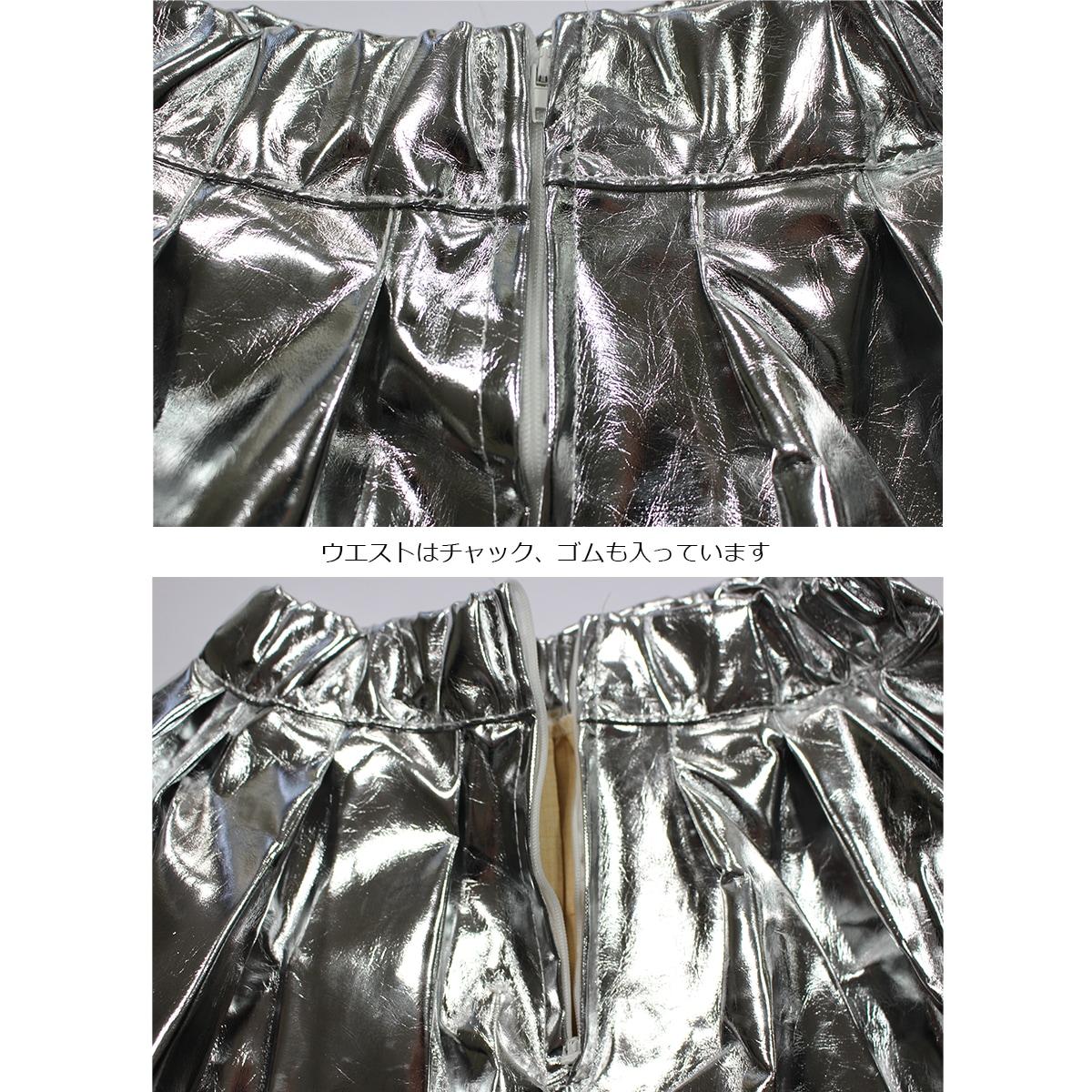 キッズダンス衣装のキラキラスパンコールセットアップ(紫×シルバー) スカートチャック
