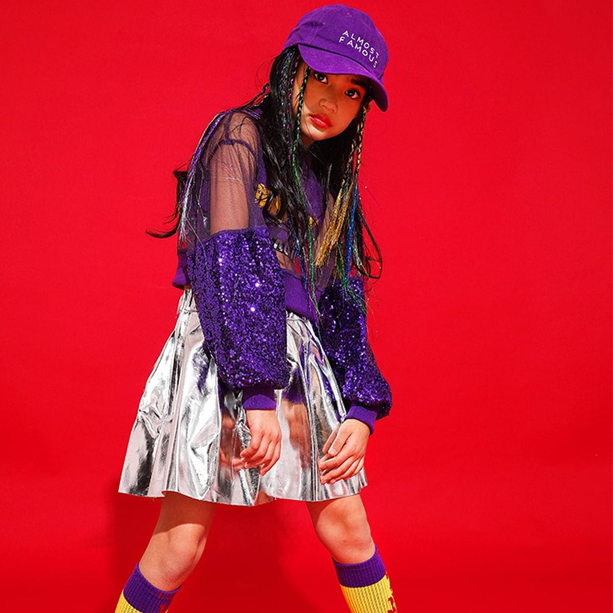 キッズダンス衣装のキラキラスパンコールセットアップ(紫×シルバー)