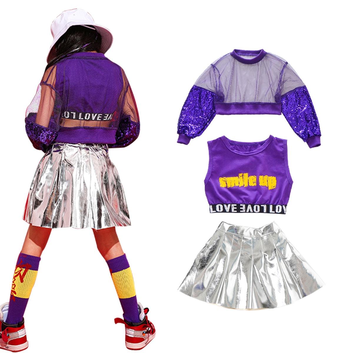 キッズダンス衣装のキラキラスパンコールセットアップ(紫×シルバー) セット内容