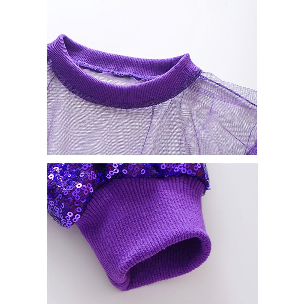 キッズダンス衣装のキラキラスパンコールセットアップ(紫×シルバー) トップス