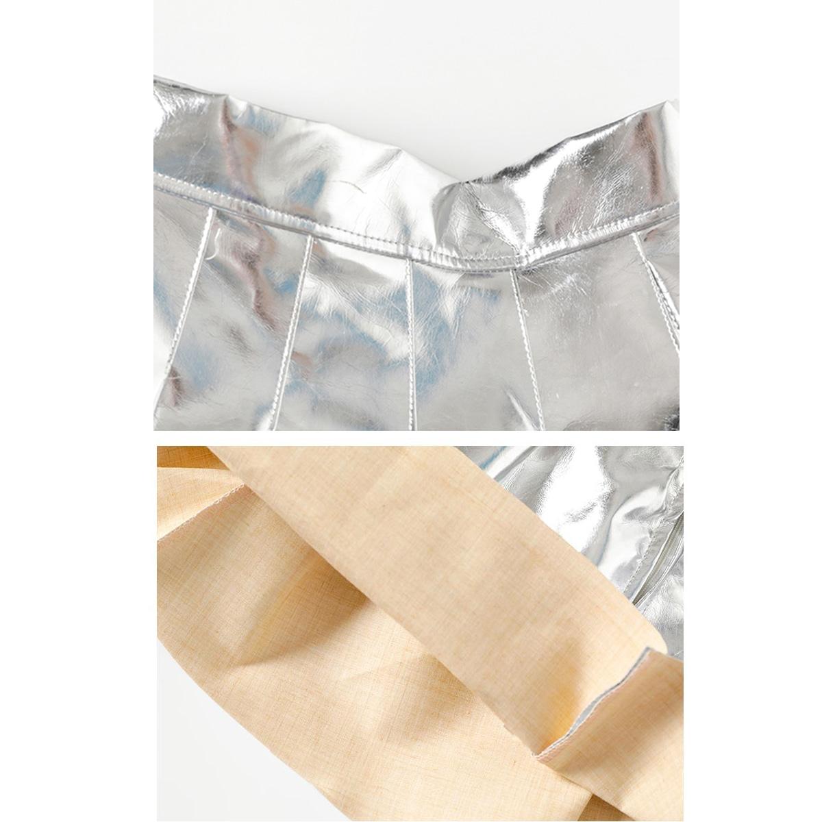 キッズダンス衣装のキラキラスパンコールセットアップ(紫×シルバー) スカート