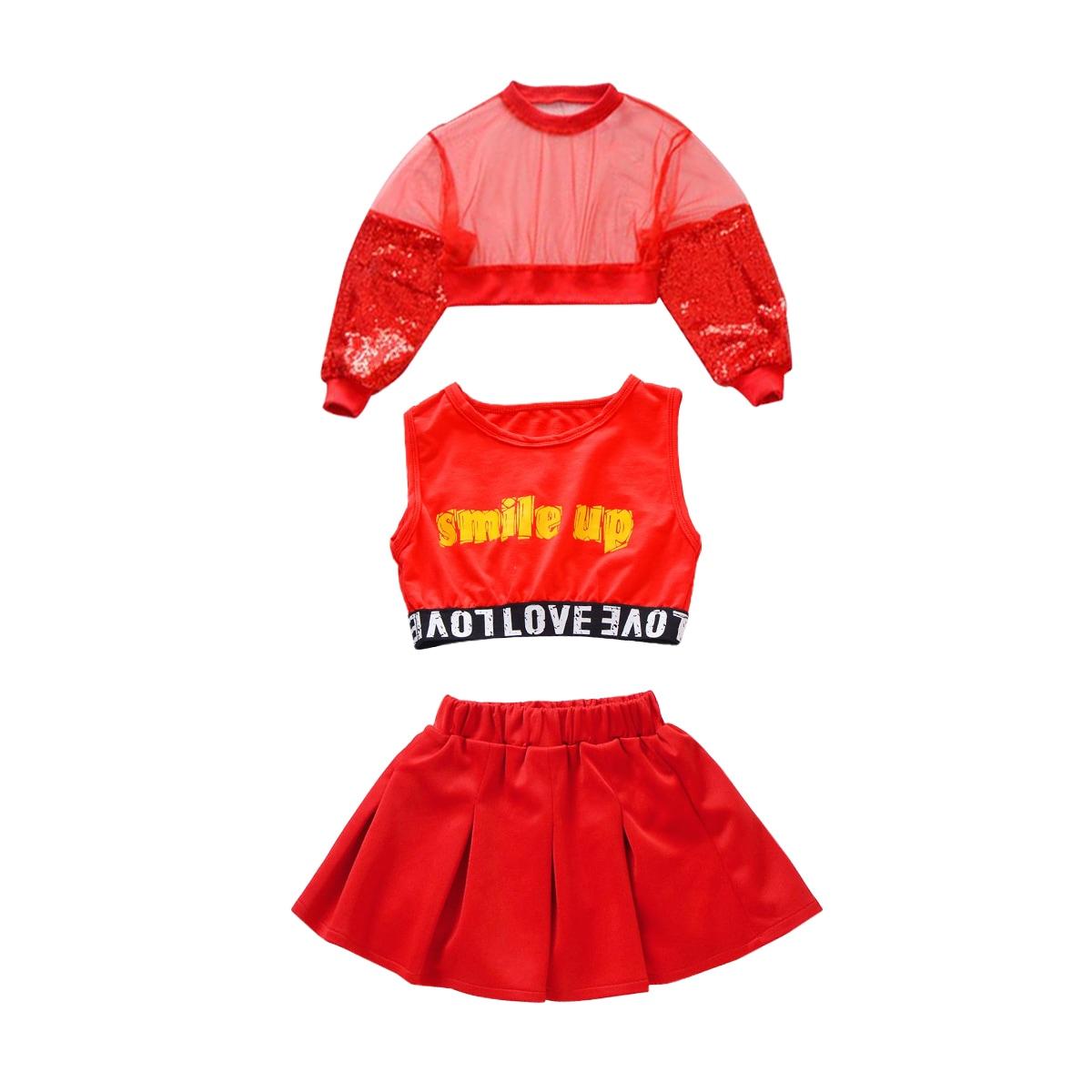 キッズダンス衣装 スパンコール 上下セット レッド  赤 セット内容