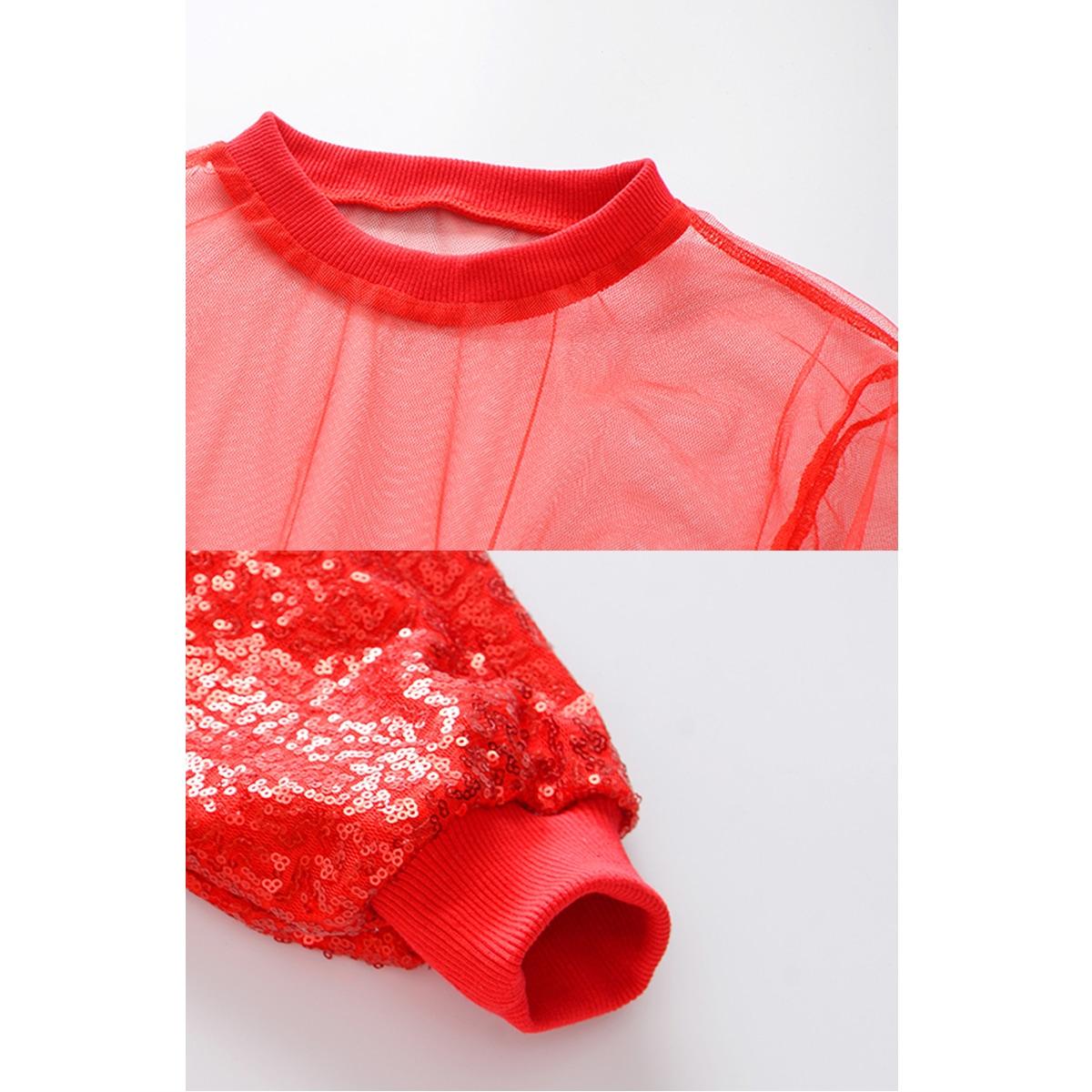 キッズダンス衣装 スパンコール 上下セット レッド  赤 トップス