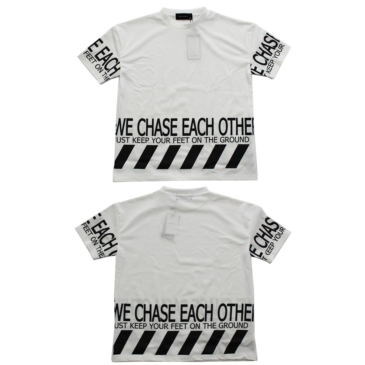 SHISKYワッフル素材半袖Tシャツ×レギンスセットアップ トップス 白