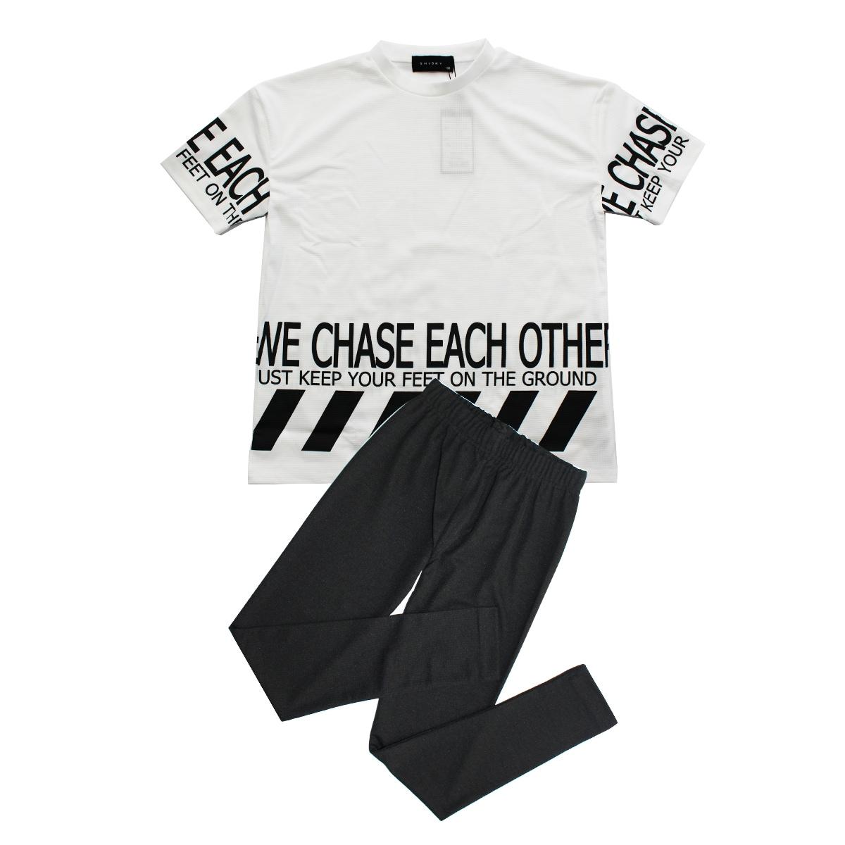 SHISKYワッフル素材半袖Tシャツ×レギンスセットアップ 2点セット