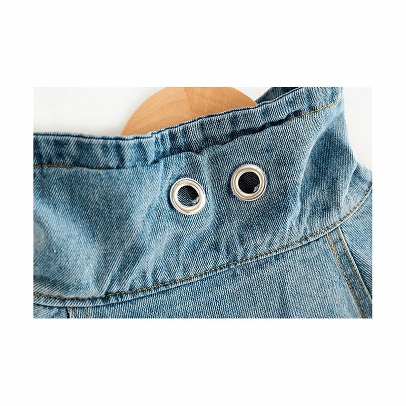 ヒップホップ衣装におすすめ!デニムセットアップ 襟・ロゴ・ウエスト・ポケット部分アップ