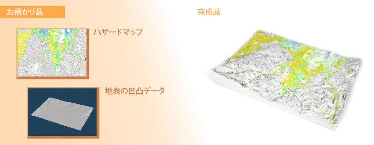 危険箇所に色を付けた立体マップ