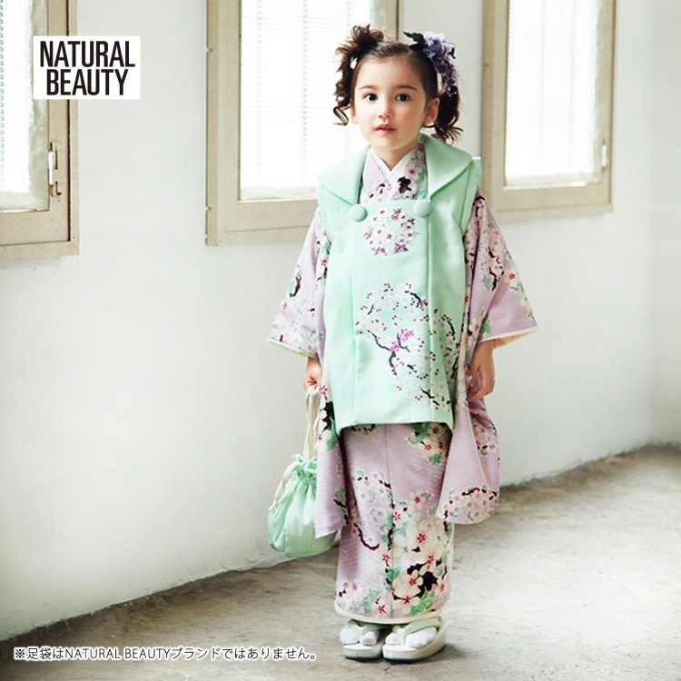 品番 1403604500 / 【レンタル品】 NATURAL BEAUTY 七五三 女児 3歳 着物セット レトロモダン系 花柄 紫系(画像)