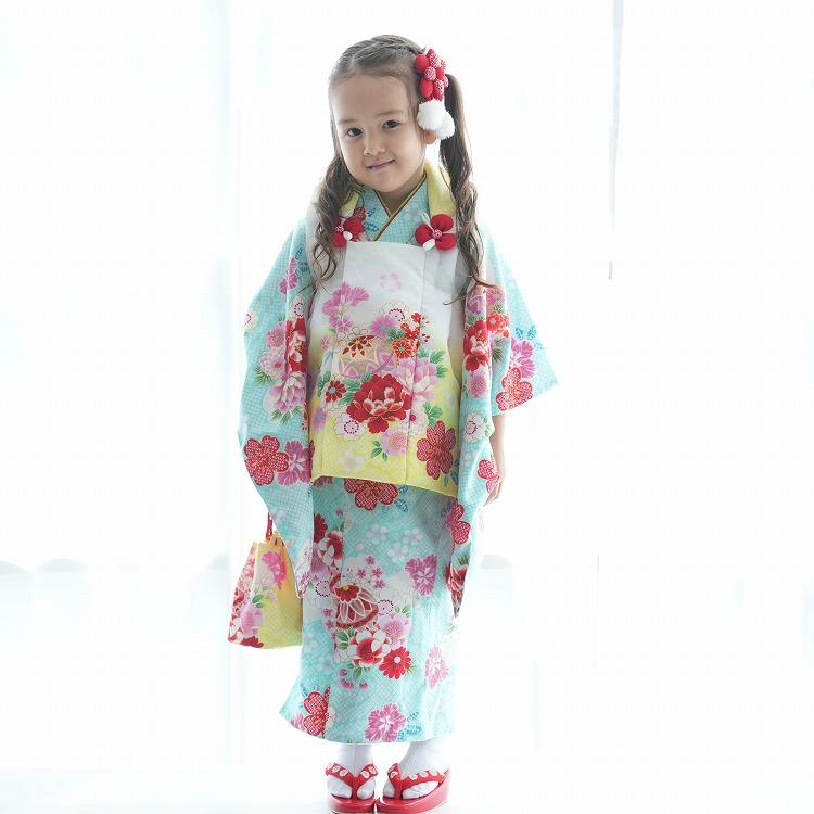 品番 1403610700 / 【レンタル品】 七五三 女児 3歳 着物セット 華やか 可愛い系 花柄 水色系(画像)
