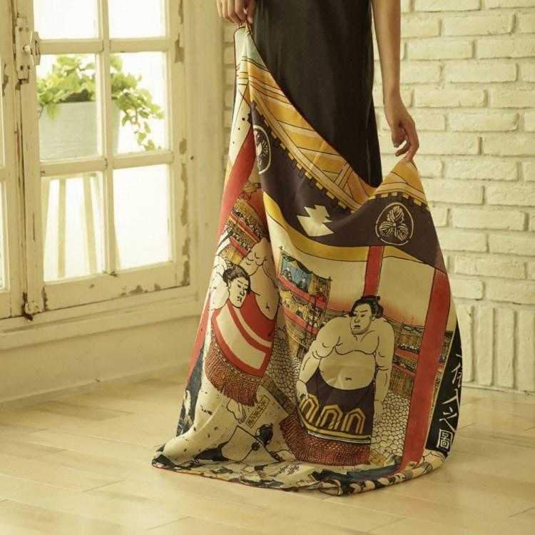 浮世絵 シルク スカーフ 90cm サブ画像6