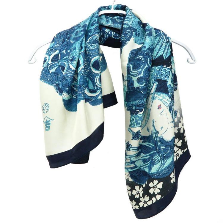 浮世絵 シルク スカーフ 90cm サブ画像3