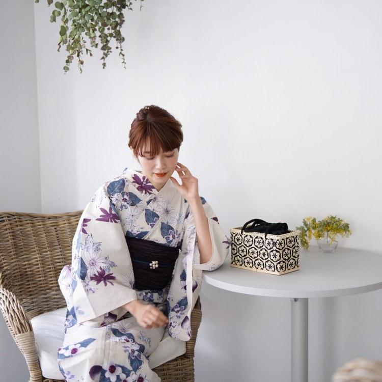 品番 5000145700 / utatane 浴衣単品(F)しっとり大人系 草花 アイボリー系(画像)