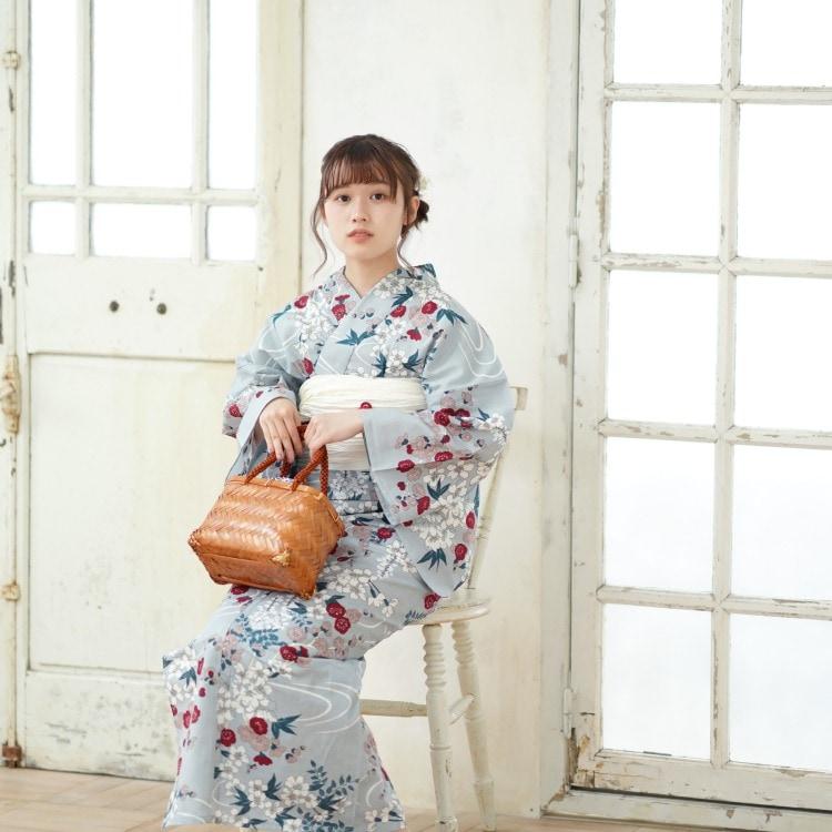 品番 5000146400 / utatane 浴衣単品(F)しっとり大人系 流水に梅と桜 ブルーグレー系(画像)