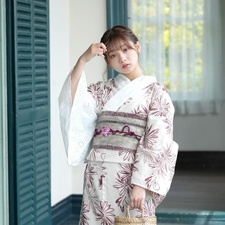 品番 5000148900 / utatane 浴衣単品(F)衿・片袖口/レース仕様 華やか 可愛い系 花 きなり系(画像)