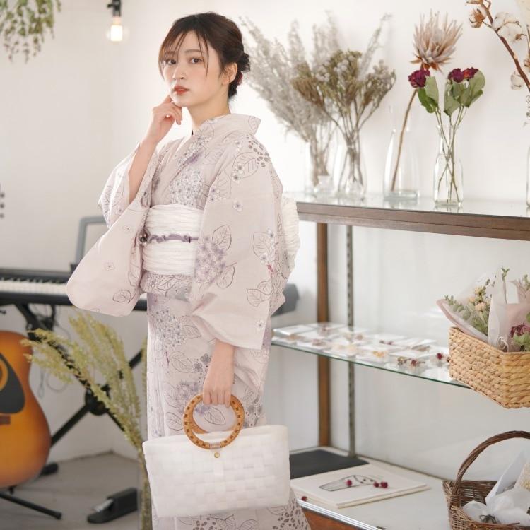 品番 5000154200 / utatane 浴衣単品(F)華やか 可愛い系 紫陽花 きなり系(画像)