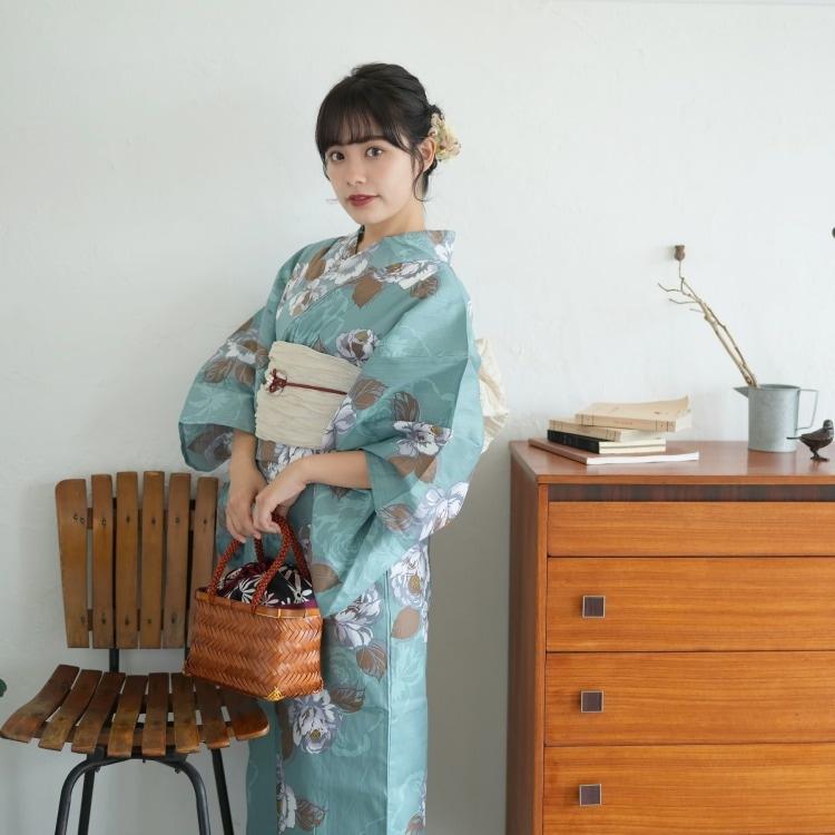 品番 5000168400 / ニコアンティーク 浴衣単品(F)華やか 可愛い系 椿 ミント系(画像)