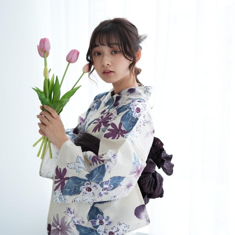 品番 5010145711 / utatane 浴衣3点セット(F)変わり生地 しっとり大人系 草花 アイボリー系(画像)